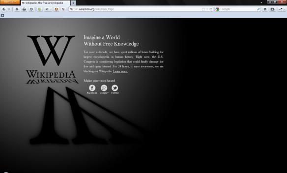 英語版Wikipedia一時閉鎖のときのスナップショット