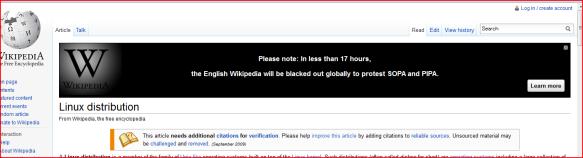 Wikipedia 英語版の一時閉鎖告知